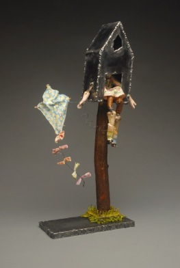 """Not So Free Range Kid Flies a Kite"" (sold) steel, stick, doll parts,  encaustic painted cloth"