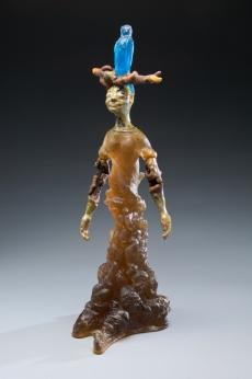 """Rhizome Branches"" (sold) kiln cast lead crystal, glazed ceramic, stick"