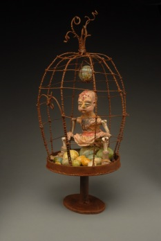"""Brooding Boredom"" (sold) welded and forged steel, clay and cloth painted with encaustic paint, chicken bones"