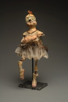 """Dancer"" (sold) clay and cloth with encaustic paint, chicken bones, sticks, steel base"