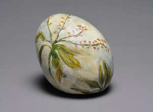 """Pieris Egg"" (sold) encaustic painted clay"