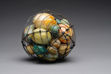"""Safe Keeping"" encaustic painted eggs, wire"