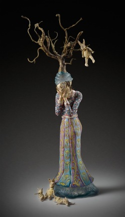 glazed ceramic, kiln cast lead crystal, cast bronze and painted cloth