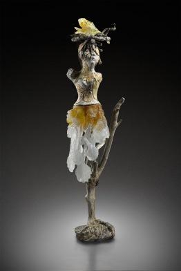 kiln cast lead crystal, bronze and glazed ceramic