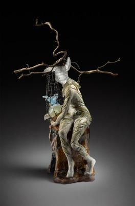 glazed ceramic, cast bronze, kiln cast lead crystal and steel wire