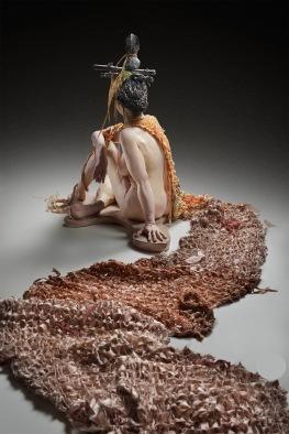 glazed ceramic, knitted silk fabric, cast bronze