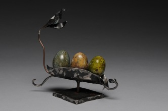 """Egg Pod"" (sold) welded and forged steel, raku ceramics"